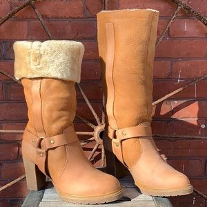 STETSON Fur-lined Nubuck Leather Tall Heeled Boots